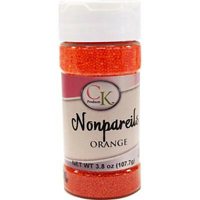Orange NonPareils sprinkles for Cupcakes, Cookies, Chocolates & Candy