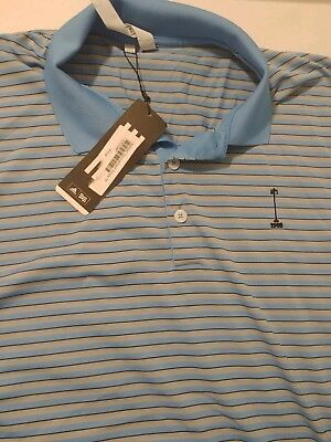 Adidas tournament Stripe Med Golf Shirt, New with tags, blue and silver