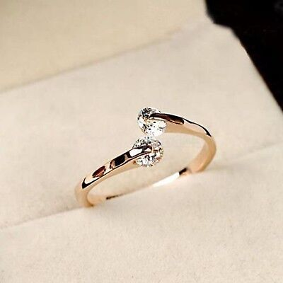 Nice Elegant Women Jewelry 18K Rose Gold Plated Crystal Engagement Party Ring