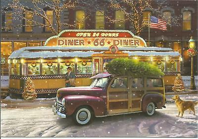 Ford Woody Route 66 Diner Christmas Card