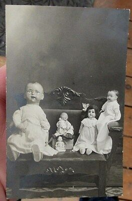 ca 1910 ANTIQUE FRENCH OR GERMAN DOLLS REAL PHOTO POSTCARD RPPC