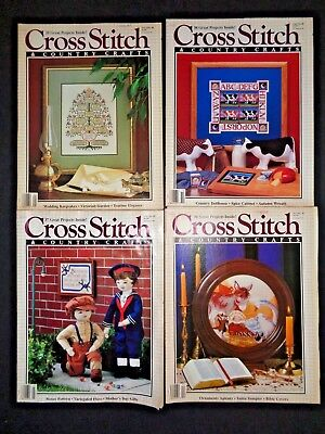 Lot 4 1988 Cross Stitch & Country Crafts Magazines Patterns Needlework Samplers
