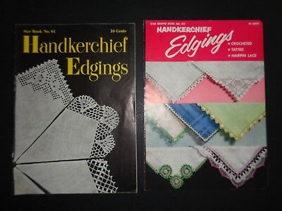 Star Eding Books Group Lot Set Pair 2 Handkerchief Edgings Tatted Crocheted Lace