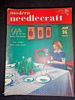 Vintage Mid Century MODERN NEEDLECRAFT MAGAZINE Knitting Patterns Winter 1950