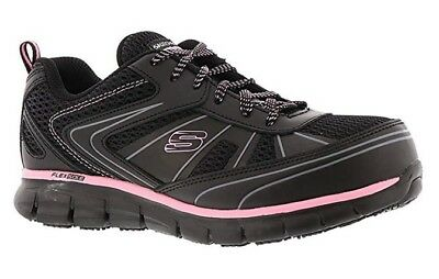 77207 W Wide Black Skechers shoe Women Work Memory Foam Slip Resistant Alloy Toe