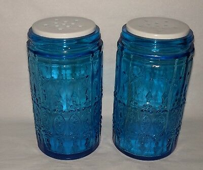 Vintage PAIR Spice Shaker Jars Wheaton cobalt BLUE  patterned Glass Canister