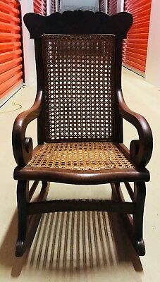 Antique Rocking Chair-Child's Children Kids Small Wood Caned Seat & Back