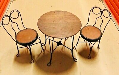 Vintage Antique Ice Cream Parlor Set Iron/Wood Table Two Chairs- Sm Kids/Doll