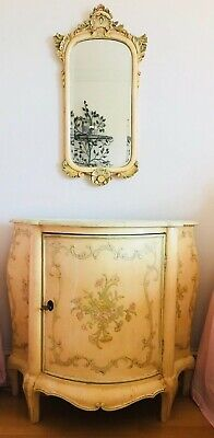 Set Antique Commode/Cabinet & Wall Mirror Painted Wood Floral w/Key Italian