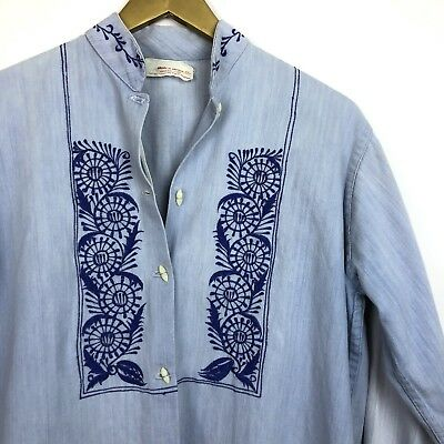 Vintage Mexican Blue Long Sleeve Embroidered Tunic Top LARGE