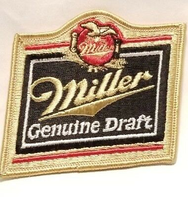 MILLER GENUINE DRAFT BEER Patch BREWERY ALE RED BLACK GOLD JACKET OR HAT  NEW