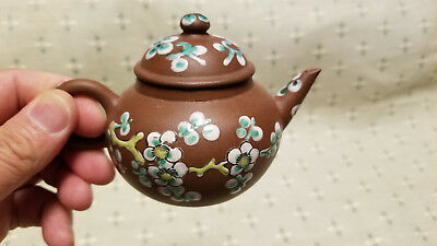 Antique Chinese Yixing Zisha Clay Teapot With Colorful Glaze Of Flowers