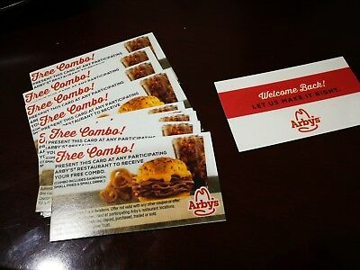 Lot of 10 Arbys Free Combo Value Meal Voucher Cards No Expiration Gift Card