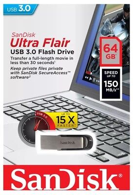 NEW SanDisk 64 GB Ultra Flair USB 3.0 Flash Drive Memory Stick High Speed 150MBs