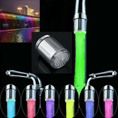 LED Water Stream Faucet Light Automatic 7Colors Changing Shower Spout Sink Tap L