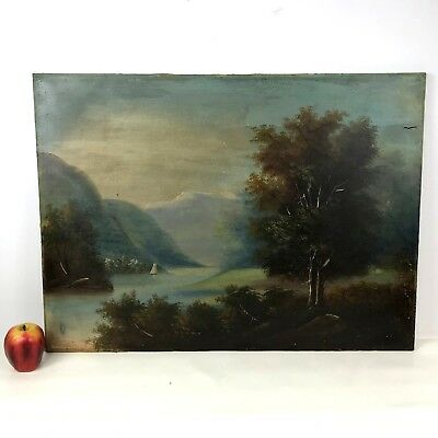 Large Antique 19th C Oil on Canvas Hudson Valley School Painting Damaged