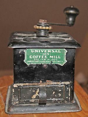 Antique Landers Frary & Clark 1909 Tin UNIVERSAL No 109 Coffee Mill Grinder