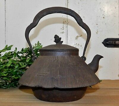 Old Japanese Tetsubin Cast Iron Water Kettle Tea Pot Jomon Mt. Fuji Form Signed