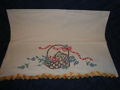 Vintage pillow case, one, white, kitty in a basket, embroidered, crocheted edg'g