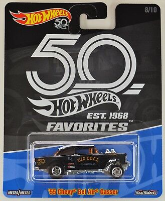 2018 Hot Wheels 55 Chevy Bel Air Gasser Blue 50th Favorites