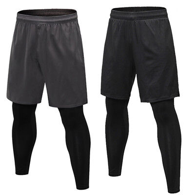 New Men's 2 in 1 Shorts Pants Pockets Sport Running Tights Compression Baselayer