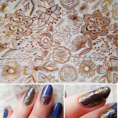 Embossed 3D Nail Art Stickers Flower Butterfly Manicure Decals Tips Decoration