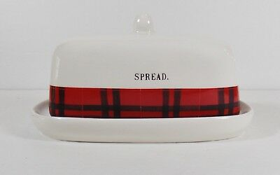 """Butter Dish With Cover/White Ceramic Red Plaid Border Rae Dunn """"Spread"""""""