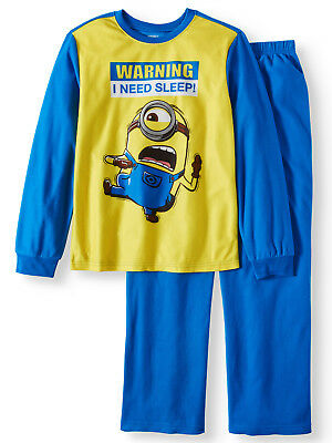 5d5aa51fd346e9 Despicable Me Minion fleece pajamas pjs set NWT boys  4 5 Warning I Need  Sleep