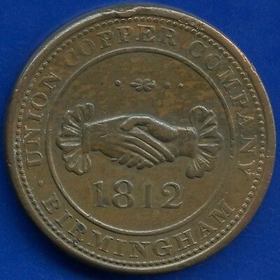 1812 Great Britain Birmingham 1 Penny Coin Token (25.1 Grams 36 mm Diameter)