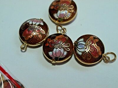Vintage Chinese Cloisonné Enamel Double Sided Pendant Butterfly Brown 13mm b