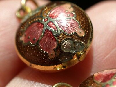 Vintage Chinese Cloisonné Enamel Double Sided Charm Pendant Butterfly Brown 13mm