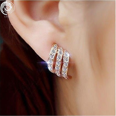 NEW Silver/Rose Gold Angel Wing White Sapphire Studded Personality Stud Earrings