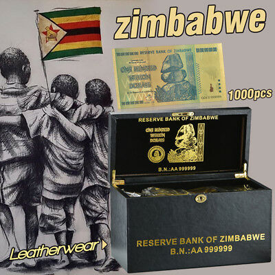 Zimbabwe 100 Trillion 1000pcs Color Banknotes With Leather Case Gifts
