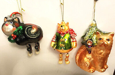 Lot of 3 Blown Glass Cat Ornaments Glitter Dagling Legs