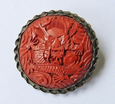 Antique 1920's Chinese Carved Cinnabar Dragon Brooch Export