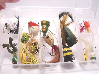 lot of 15 Cork Feathers Frog Tentacles Fly Rod Popper Fishing Lures + Plano Case