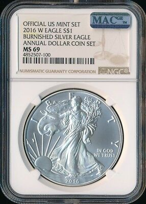 2016 W SILVER EAGLE NGC MAC MS-69 PQ ANNUAL SET 2nd FINEST GRADE SPOTLESS