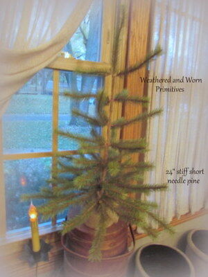 "Primitive Country Farmhouse 24"" Stiff Needle Pine Christmas Tree -Textured Trunk"