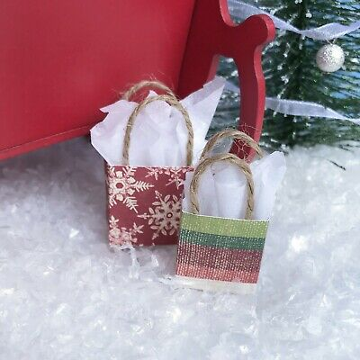 "Dollhouse Miniature Christmas Gift Bag Set #7 Holiday Presents 1"" Scale 1:12"