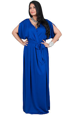 b1f289e8126d1 Womens Plus Size Long V-Neck Short Sleeve Batwing Flowy Cocktail Gown Maxi  Dress