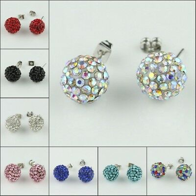 Sparkle Czech Crystal Round Disco Ball Platinum Plated Studs Earrings 10mm
