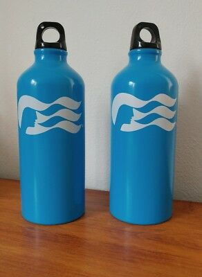 2 Princess Cruises Blue Metal w/ Plastic Loop Cap Water Bottles Sea Witch NEW