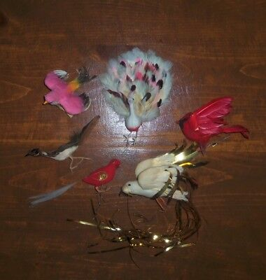 6 VTG CHRISTMAS Spun Cotton Feather Ornaments BIRDS Tie On Wire Flocked Peacock