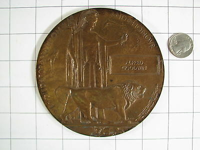 """WWI Great Britian 5"""" Death Penny / Plaque  ALFRED GOODWIN"""