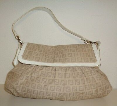 FENDI CHEF FLAP Zucca Canvas Shoulder Bag Purse -  125.00   PicClick e6859d745d