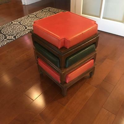 Vintage Mid Century Stacking Nesting Ottoman Stools Foot Stools Foot Rest 1960's