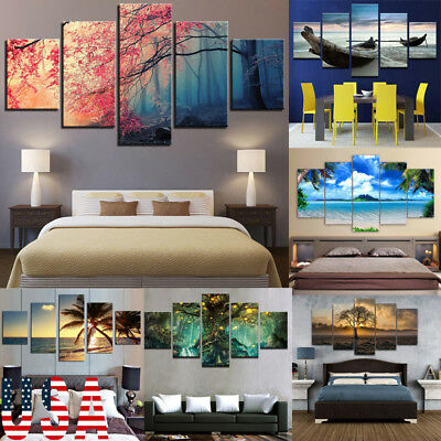 5Pcs/Set Modern Abstract Canvas Print Painting Picture Wall Mural Decor Unframed