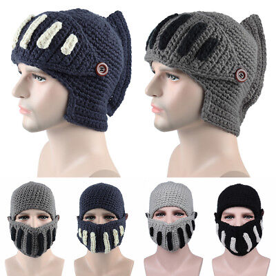 f08aac0fe4d Unisex Boy Roman Gladiator Knight knit hat hand-knitted winter hat masks cap