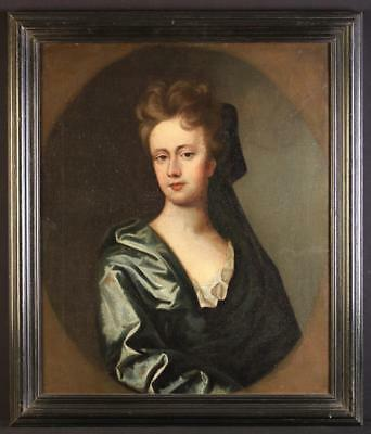 17th Century English School Antique Oil on Canvas Portrait of Miss Price