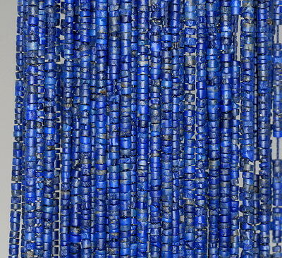 1.5Mm Lapis Lazuli Gemstone Blue Round Tube Heishi Loose Beads 14.5""